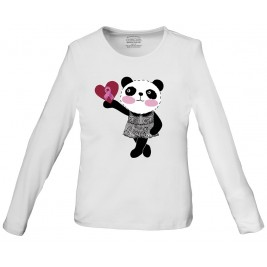 """WorkWear """"Little Miss Panda"""" Long Sleeve Knit Tee #4709 - MIPA"""