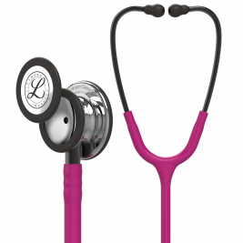 3M™ Littmann® Classic III™ Monitoring Stethoscope, Mirror Finish Chestpiece, Raspberry Tube, Smoke Stem and Headset, 27 inch, 5862