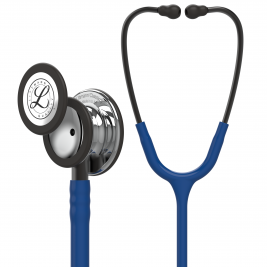 3M™ Littmann® Classic III™ Monitoring Stethoscope, Mirror-Finish Chestpiece, Navy Blue Tube, Smoke Stem and Headset, 27 Inch, 5863