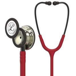 3M™ Littmann® Classic III™ Monitoring Stethoscope Champagne-Finish Chestpiece, Burgundy Tube, Smoke Stem and Headset, 27 Inch 5864