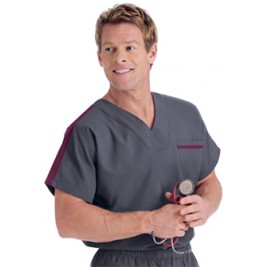 Landau's Men's Contrast Color Scrub Top #7565