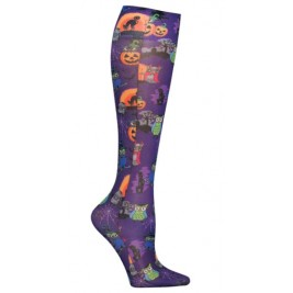 Graduated Support Socks / Knee High Hosiery 12 mmHg Compression  - FashionSupport-OWTT-Owl Be Trick or Treating