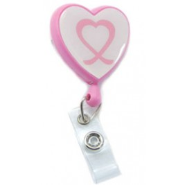 "NursezChoice Pink ""Ribbon"" Retractable ID Holder #201-0181-015"