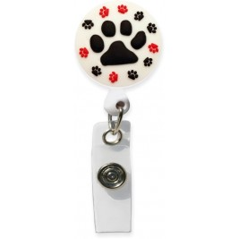 3D Rubber Retractable Badge Reel –Paw Prints #SC-025