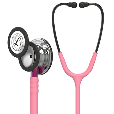 3M™ Littmann® Classic III™ Monitoring Stethoscope, Mirror Finish Chestpiece, Pearl Pink Tube, Pink Stem and Smoke Headset, 27 inch, #5962