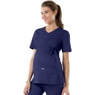 Cherokee Workwear Maternity V-Neck Knit Panel Top #4708