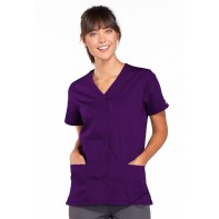 Cherokee Workwear Snap Front V-Neck Top #4770