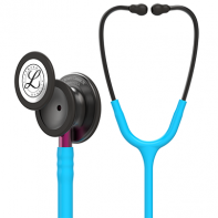 3M™ Littmann® Classic III™ Monitoring Stethoscope, Smoke Chestpiece, Turquoise Tube, Pink Stem and Smoke Headset, 27 inch, #5872