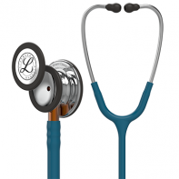 3M™ Littmann® Classic III™Monitoring Stethoscope, Mirror Chestpiece, Caribbean Blue Tube, Orange Stem and Stainless Headset, 27 inch, #5874