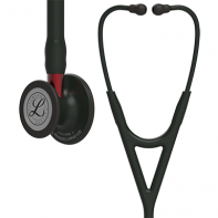 3M™ Littmann® Cardiology IV™ Diagnostic Stethoscope, Black-Finish Chestpiece, Black Tube, Red Stem and Black Headset, 27 inch, #6200