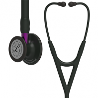 3M™ Littmann® Cardiology IV™ Diagnostic Stethoscope, Black-Finish Chestpiece, Black Tube, Violet Stem and Black Headset, 27 inch, #6203