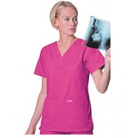 Landau Women's 4-Pocket V-Neck Classic Fit Solid Scrub Top #8219
