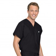 Landau Reversible Unisex Scrub Top #7502-XL-Black(BKP)