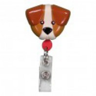 PediaPals Retractable ID Tag Holders-Brown Dog #100106
