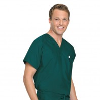 Landau Reversible Unisex Scrub Top #7502-L-Hunter Green(GHP)