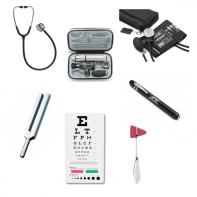 KCU-kit 3M Littmann Classic III Stethoscope, 97200-MCL Otoscope, 512 Tuning Fork, Reflex Hammer, Sphygmomanometer, Pen Light, Snellen Eye Chart.