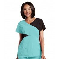 Grey's Anatomy Signature Contrast Mock Wrap Top #2140G