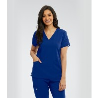Women's Astra V-Neck Laced Sleeve Solid Scrub Top #GNT019