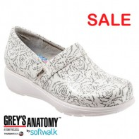 Grey's Anatomy Meredith Softwalk Nursing Shoe - White Floral  #G1400-105