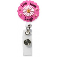 3D Rubber Retractable Badge Reel –Live Love Laugh #SC-022
