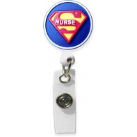 3D Rubber Retractable Badge Reel – Super Nurse #SC-074