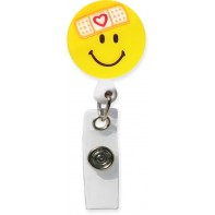 3D Rubber Retractable Badge Reel – Bandage Smiley  #SC-093