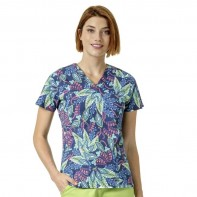 """Vera Bradley """"Maya"""" V-Neck Print Top-Batik Leaves Blue #V6107-BLE"""