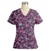 "Vera Bradley ""Maya"" V-Neck Print Top-Leafy Blossoms #V6107-LFB"