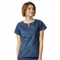"Vera Bradley ""Linda"" Notch Neck Print Top-Batik Leaves Tonal Blue#V6207-BLT"